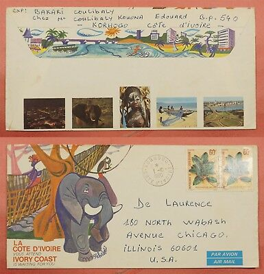 1980 Ivory Coast Tourism Advertising Airmail Cover To Usa