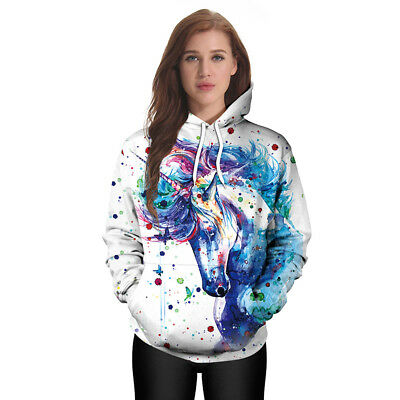 Autumn Women Long Sleeve Unicorn Printing Color Pattern Pocket Hooded Sweater