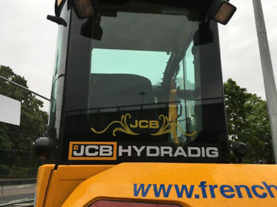 JCB Digger Tractor Decal Rear Swirl with Logo Sticker NEW STYLE LOGO