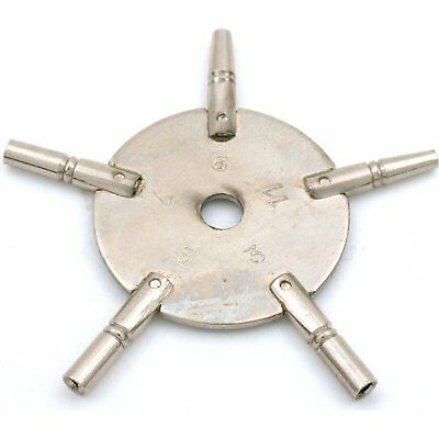 5 Prong Pocket Watch Key Clockmakers Winder Sz 3-11 Winding Tool