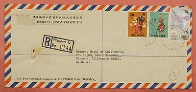 1973 Singapore Registered Multi Franked Airmail Cover To Usa #4