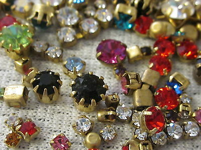 All Swarovski Single Rhinestones In Settings 100 Round Crystal Lot Vtg Jewelry