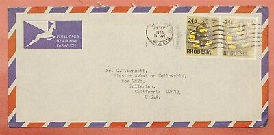 1978 Rhodesia Butterfly Franked Airmail To Usa