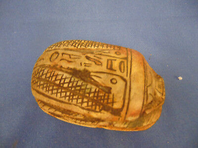 Stone Scarab beetle paper weight hieroglyphics hand crafted Egyptian art style