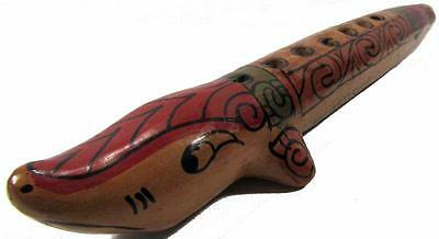 Ocarina Flute Instrument Nicaragua Hand Painted Clay Pottery