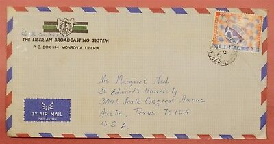 1984 Liberia Single Franked Airmail Broadcasting System Advertising To Usa
