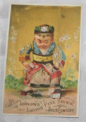 Antique Victorian Trade Card Gold Background Chinese Boy Asian Ludlow's   Shoes