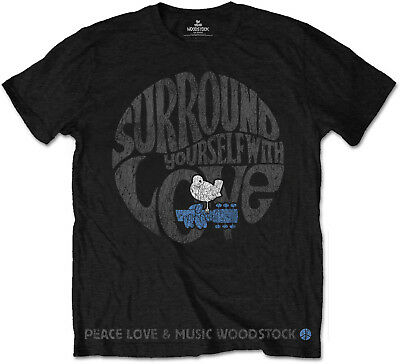 WOODSTOCK Surround Yourself With Peace Love & Music T-SHIRT OFFICIAL MERCHANDISE