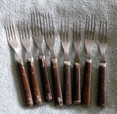 8 Civil War Era Primitive Steel Fork Mixed Lot -  Riveted Wood Handle