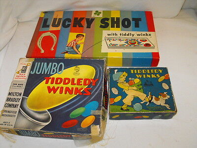 Neat lot of Vintage Tiddley Winks Games Group of 3 Some Bakelite