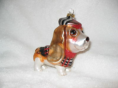 Basset Hound Puppy Dog Glass / Resin Ornament - Plaid Holiday Outfit w/Tam