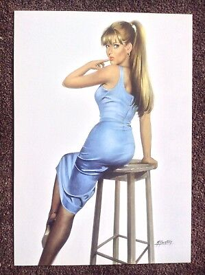 Michel Gourdon PRINT Limited Edition Pinup Rare Art Erotic Woman Nude Blue Dress