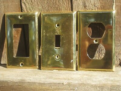 Vintage Polished Brass Electric Wall Single Switch Rocker & Outlet Plate Covers