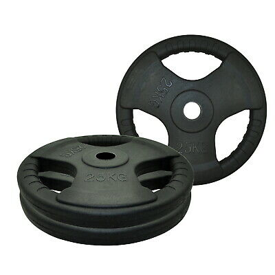 25kg x 2 Rubber Coated Olympic Weight Plate - Triple Handle Ez Grip - Total 50kg