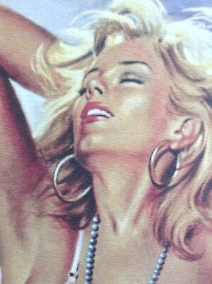 Michel Gourdon PRINT Limited Edition Pinup Rare Art Erotic Blonde Girl Nude Pose