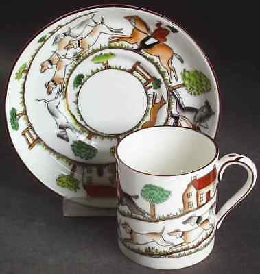Crown Staffordshire HUNTING SCENE Demitasse Cup & Saucer 5963045