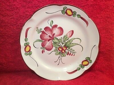 Antique French Faience Flowers Bouquet Plate from late 1700's-early 1800's ff491