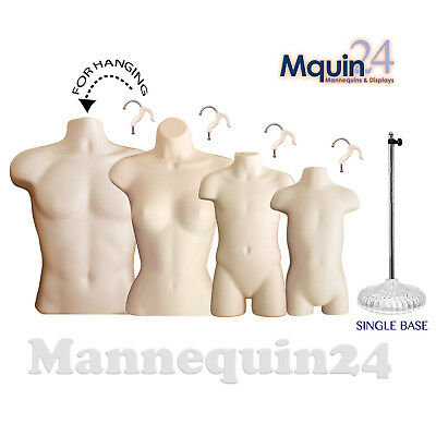 Male Female Child & Toddler Torso Mannequin Set Flesh Forms + 4 Hangers +1 Stand