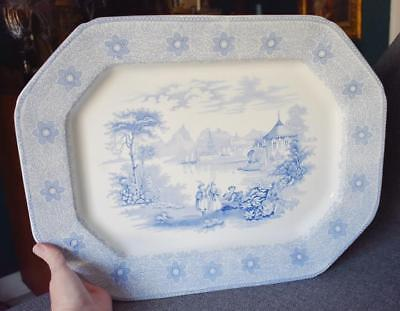 Light Blue & White J & T Edwards Sirius Xl Antique Flow Blue Rectangular Platter