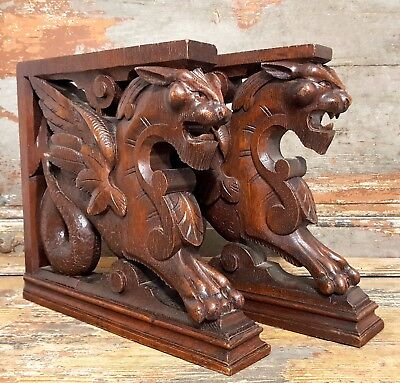 Corbel Bracket Matched Pair Antique French Hand Carved Wood Griffin Pedestal