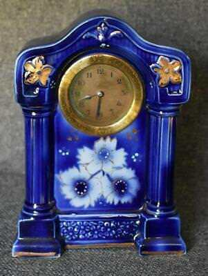 Rare Antique Flow Blue Floral Columned Mantel Clock Vanity Clock Desk Clock