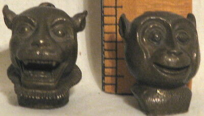 2 VERY RARE ANTIQUE BURMESE OPIUM WEIGHTS - SMILING MONKEY and SMILING DOG HEADS