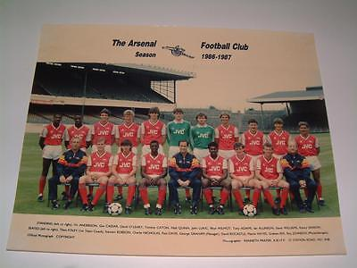 Arsenal Fc 1986-1987 Squad Original Press Or Club Issued Photograph