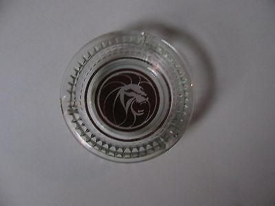 Vintage Mgm Grand Hotel Las Vegas Lion Head Clear Glass Cigarette Ashtray