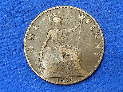 UK Great Britain 1896,One Penny Coin,Circulated