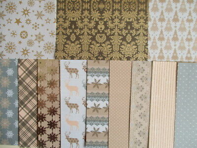 """Dovecraft Magic & Sparkle Christmas 12x12"""" Scrapbook backing papers x 12 sheets"""