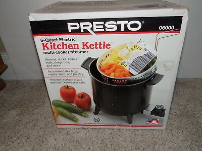 Presto 6 Quart Electric Kitchen Kettle Multi Cooker/steamer 06000