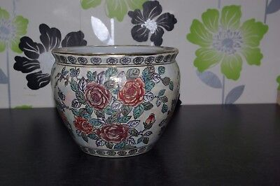 Chinese Oriental Fish Bowl Planter Floral Lustre Pattern