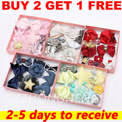 10Pcs/Set Kids Baby Girl Bow Hair Clips Flower Barrette Pins Gift Alligator Clip