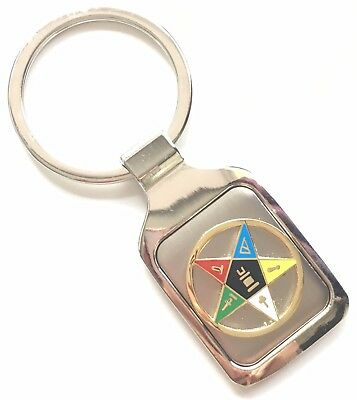 Personalised Engraved Masonic Eastern Star Crested Key Ring + Pouch (K012)