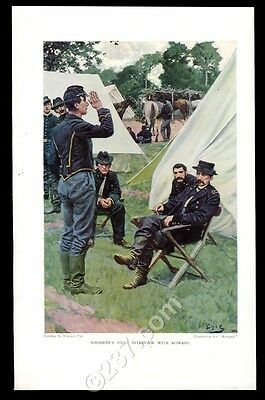 1909 Howard Pyle 'Sheridan's First Interview with Rowand' vintage print