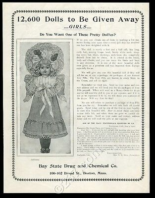 1902 Bay State Drug & Chemical Boston bisque doll art and offer vintage print ad