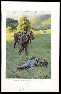1909 Howard Pyle 'Lonely Duel in the middle of a Great Sunny Field vintage print
