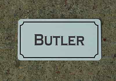 "BUTLER Metal Vintage Design Sign 6""x12"" for Mansion Estate Maid Servant"