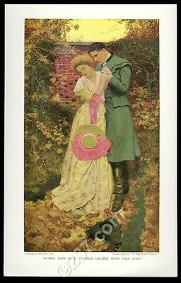 1908 Howard Pyle 'A Sign from Heaven' autumn leaves couple vintage print