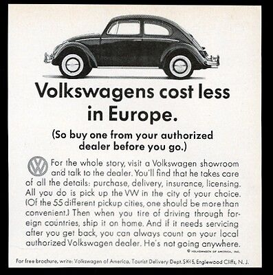1965 VW Volkswagen Beetle classic car photo Costs Less in Europe vintage ad