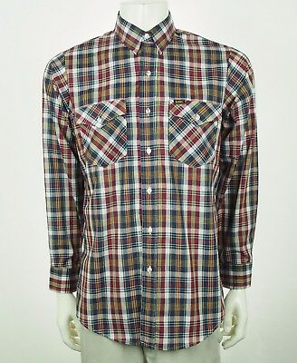 New Lee Vtg 80's Made In USA Blue Striped Plaid Button Shirt Sz Large