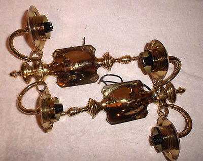 Pair Antique 1930's Brass Twin Candle Sconce Lights Refurbished Beauties #2