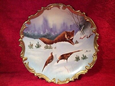 Antique French Limoges Wall Plaque by Known Artist, Fox & Phesants, L302