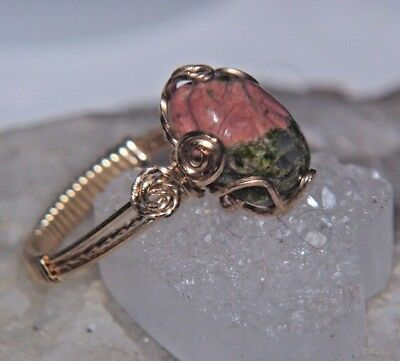 Egyptian SCARAB Ring UNAKITE 7 carat carved gemstone CAB 14kgf Gold sz 7-7.5