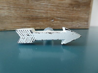 Distressed White Metal ARROW KNOB Drawer Pull  Western Southwest BoHo Chic Decor
