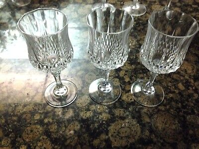 Longchamp Cristal D'arques Durand Water Goblets Wine Glasses Lot Of 6