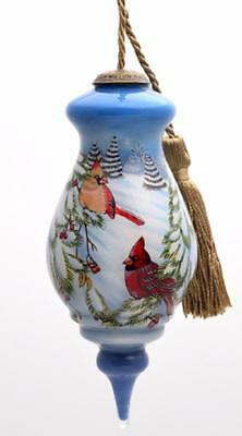 Inner Beauty Cardinal Bird Pair Inside Glass Hand Painted Ornament Gift Boxed