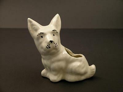Early to Mid 20th Century Experssive Scottie Dog Planter White w/ Black Features