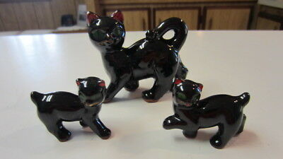 3) Vintage Redware Cat Figurines, Mom & 2) Kittens, Made in Japan