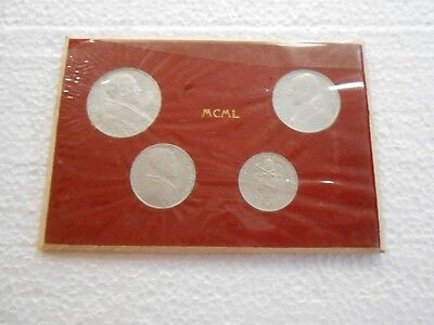 Set of Four 1950 MCML Vatican Pope Coins in Holder